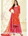 Marvelous Cotton Hot Pink And Orange Print Work Palazzo Suit