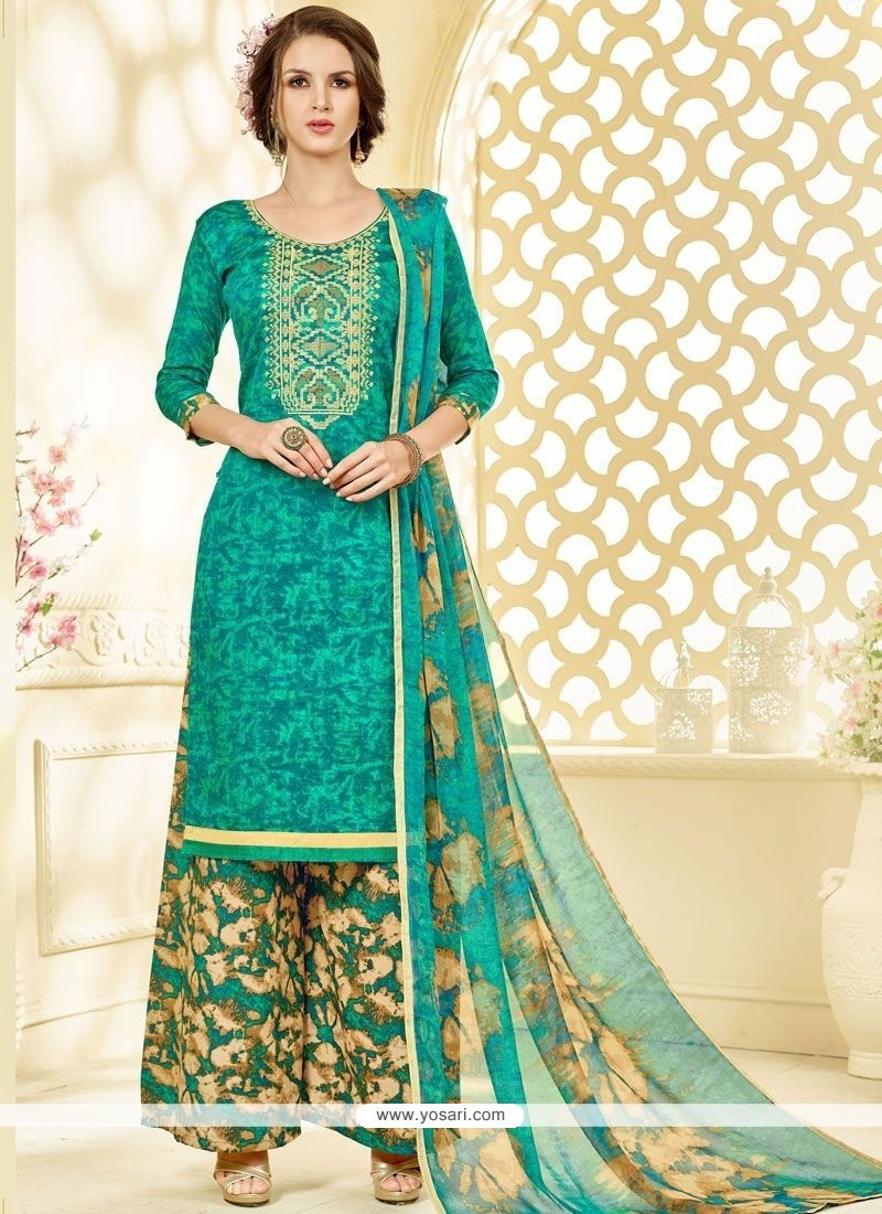 Buy Regal Print Work Cotton Sea Green Palazzo Suit | Palazzo Salwar ...