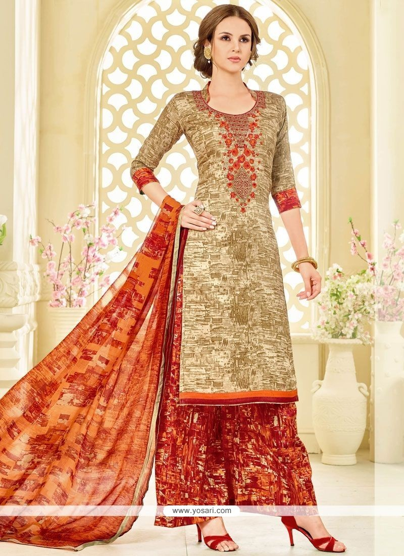 Dignified Cotton Beige And Red Palazzo Suit