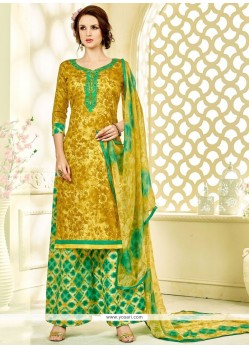 Exotic Green And Mustard Palazzo Suit