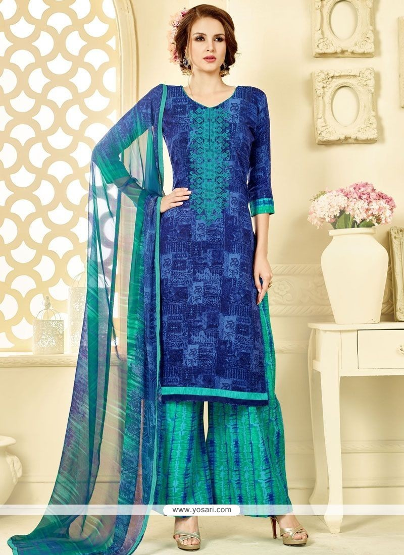Blooming Blue And Sea Green Print Work Cotton Palazzo Suit