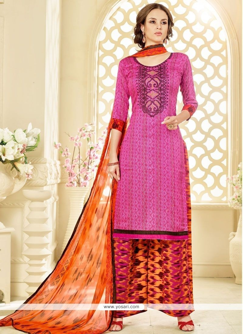 Swanky Hot Pink And Orange Cotton Palazzo Suit