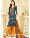 Exceptional Print Work Cotton Palazzo Suit