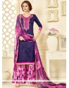 Swanky Cotton Hot Pink And Purple Palazzo Suit