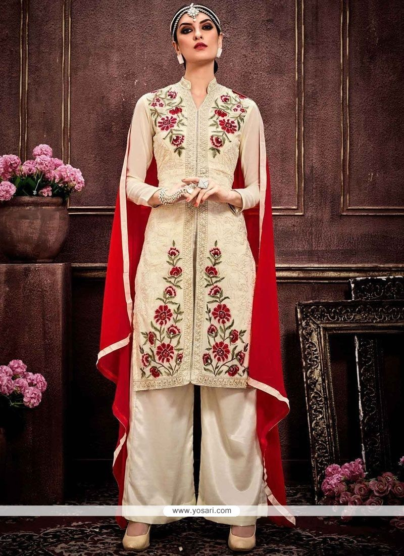 Dazzling Faux Georgette Cream And Red Designer Palazzo Suit