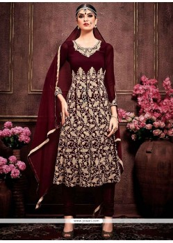 Outstanding Embroidered Work Faux Georgette Designer Suit