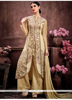 Magnetic Resham Work Faux Georgette Beige Palazzo Designer Suit
