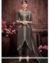 Immaculate Grey Lace Work Designer Suit