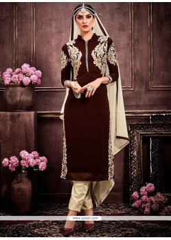 Hypnotizing Faux Georgette Brown Zari Work Designer Suit