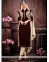 Hypnotizing Faux Georgette Brown Zari Work Designer Suit