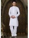 White Pure Cotton Kurta With Aligarhi Pajama