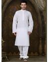 Self Designed White Cotton Kurta With Aligarhi Pajama