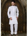 White Designer Kurta With Aligarhi For Eid