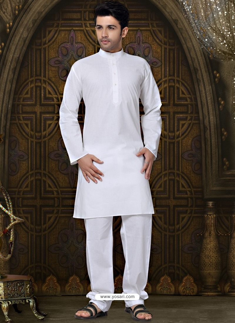Pure Cotton Kurta Payjama In White Color