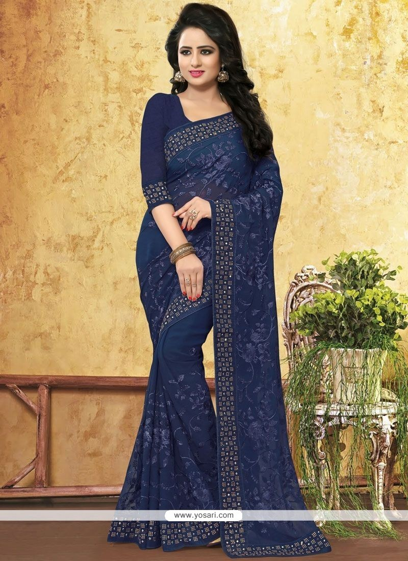 Navy Blue Embroidered Work Faux Georgette Classic Designer Saree