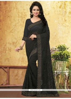 Hypnotic Faux Georgette Black Classic Saree