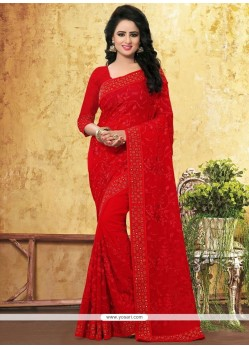 Zesty Resham Work Red Faux Georgette Saree