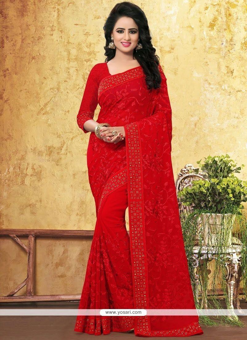 0cf5660807604 Buy Zesty Resham Work Red Faux Georgette Saree