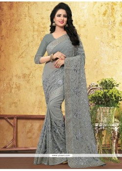 Breathtaking Faux Georgette Embroidered Work Designer Saree