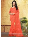 Arresting Embroidered Work Orange Faux Georgette Classic Designer Saree