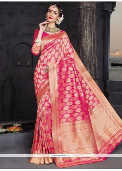 Rose Pink Weaving Work Banarasi Silk Designer Traditional Saree