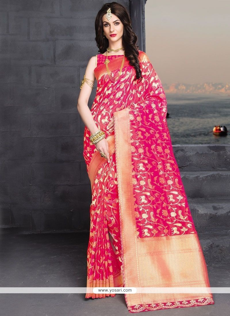 Vibrant Banarasi Silk Weaving Work Designer Traditional Saree