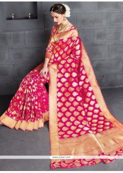 Strange Hot Pink Weaving Work Banarasi Silk Traditional Designer Saree