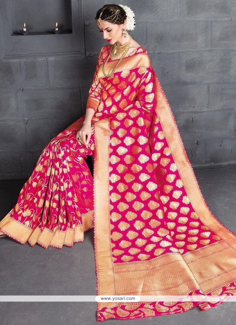 Strange Hot Pink Weaving Work Banarasi Silk Traditional Designer Saree