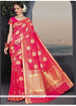 Sparkling Banarasi Silk Rose Pink Weaving Work Traditional Saree