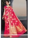 Sparkling Banarasi Silk Rose Pink Weaving Work Traditional Saree