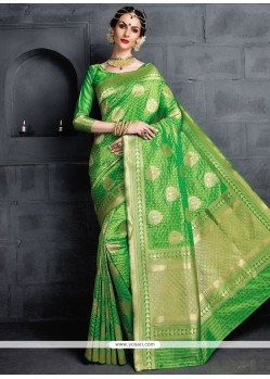 Green Weaving Work Banarasi Silk Designer Traditional Saree
