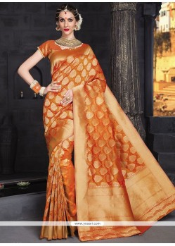 Extraordinary Orange Weaving Work Banarasi Silk Traditional Designer Saree