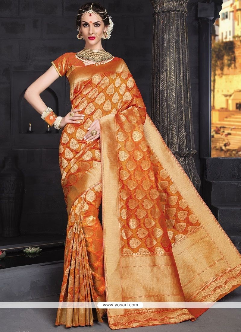 Extraordinary Orange Weaving Work Banarasi Silk Traditional Designer Saree