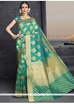 Magnificent Sea Green Designer Traditional Saree