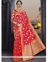 Weaving Banarasi Silk Traditional Saree In Maroon