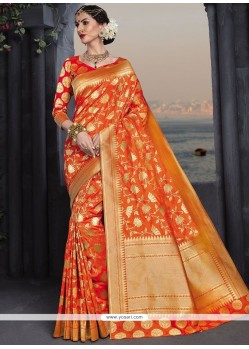 Groovy Banarasi Silk Orange Designer Traditional Saree
