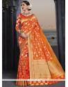 Groovy Banarasi Silk Orange Designer Traditional Saree