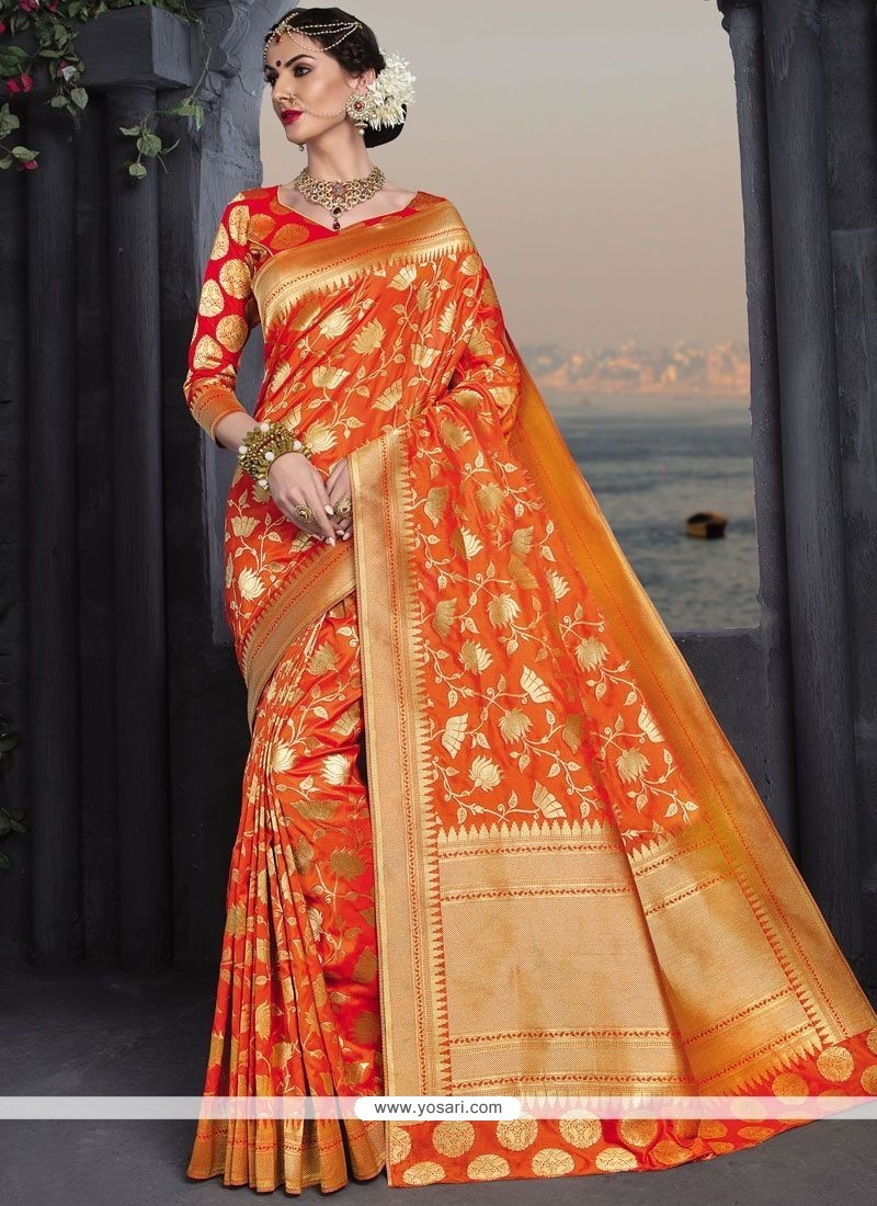 725168586e Buy Groovy Banarasi Silk Orange Designer Traditional Saree | Wedding ...