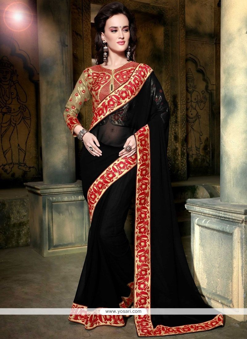 Opulent Faux Georgette Embroidered Work Classic Saree