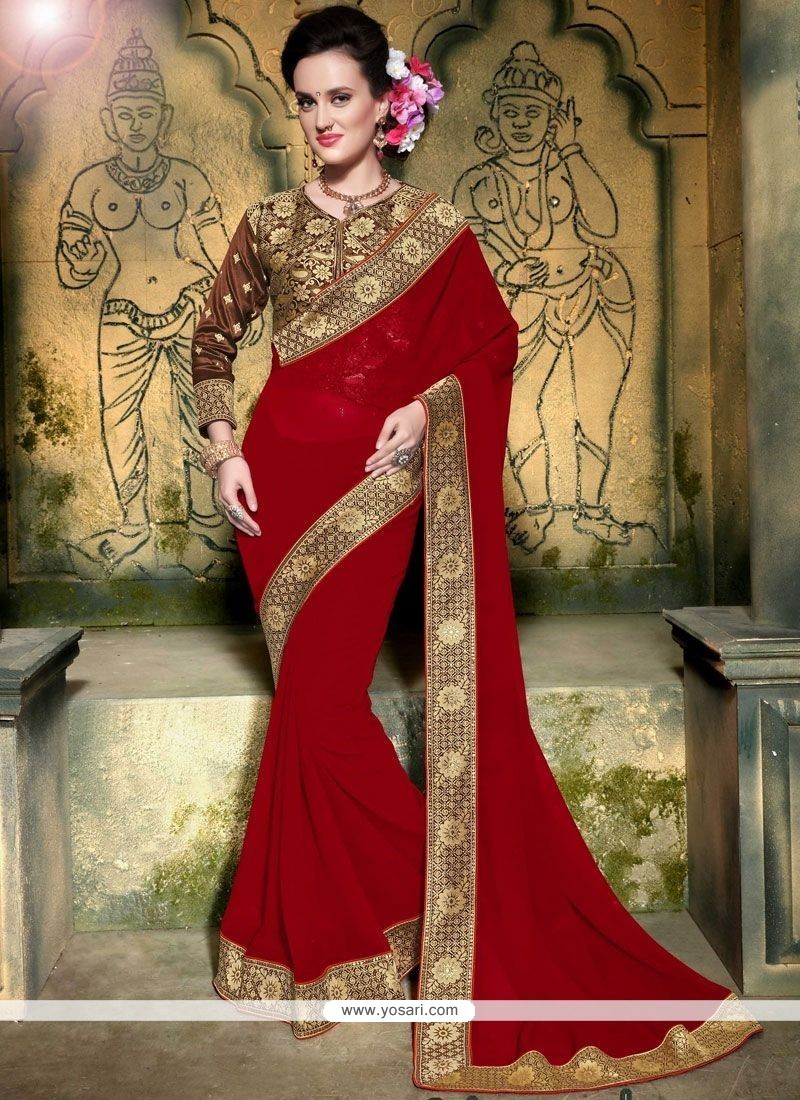 Gorgonize Red Embroidered Work Faux Georgette Saree