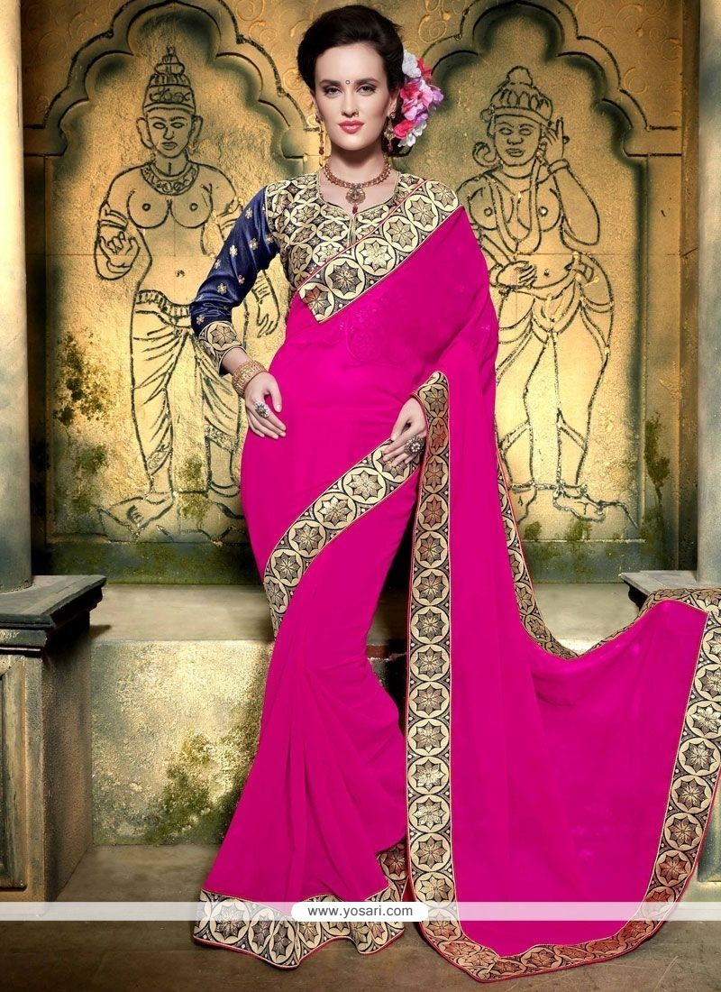 Extraordinary Faux Georgette Hot Pink Embroidered Work Designer Saree