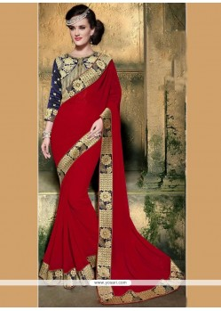 Topnotch Embroidered Work Faux Georgette Classic Designer Saree