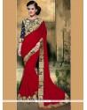 Topnotch Embroidered Work Faux Georgette Classic Designer Saree