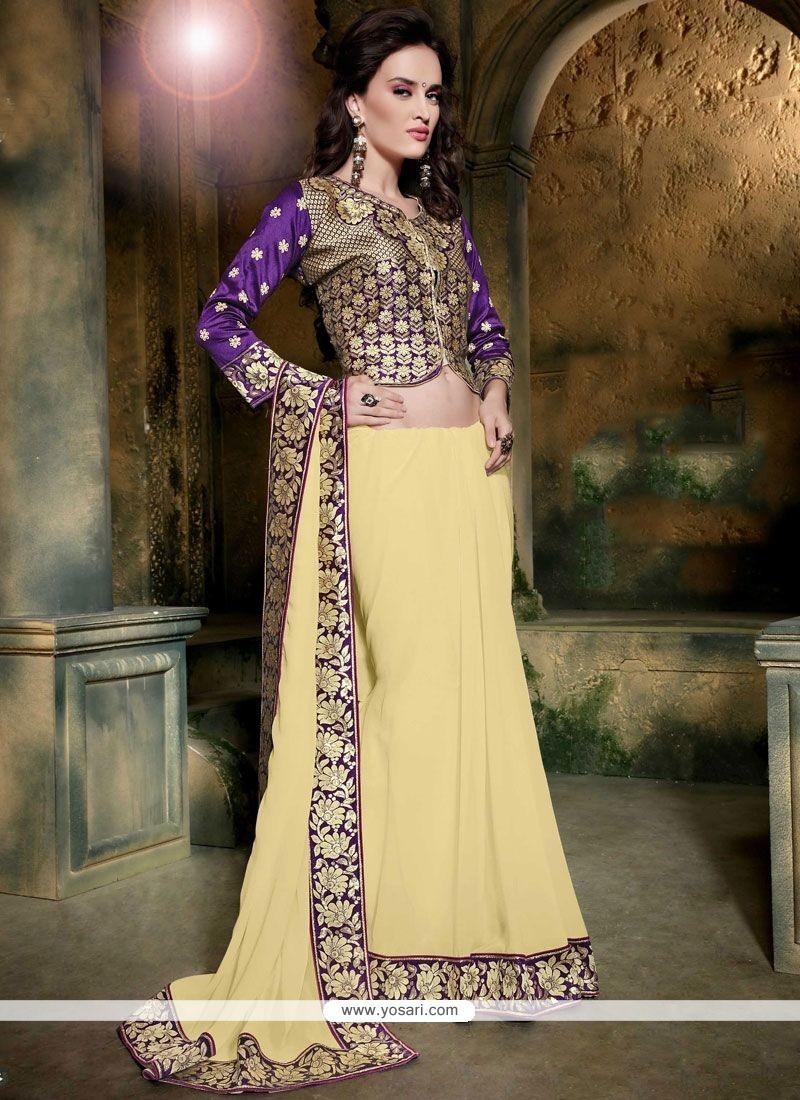 Princely Faux Georgette Cream Embroidered Work Classic Saree