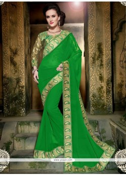 Sunshine Faux Georgette Patch Border Work Classic Saree