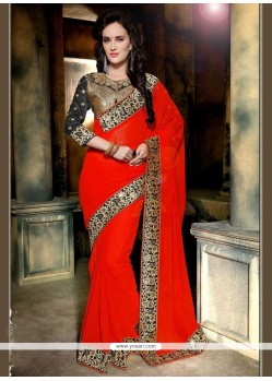 Delectable Faux Georgette Red Classic Designer Saree