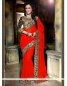 Delectable Faux Georgette Red Classic Designer Saree