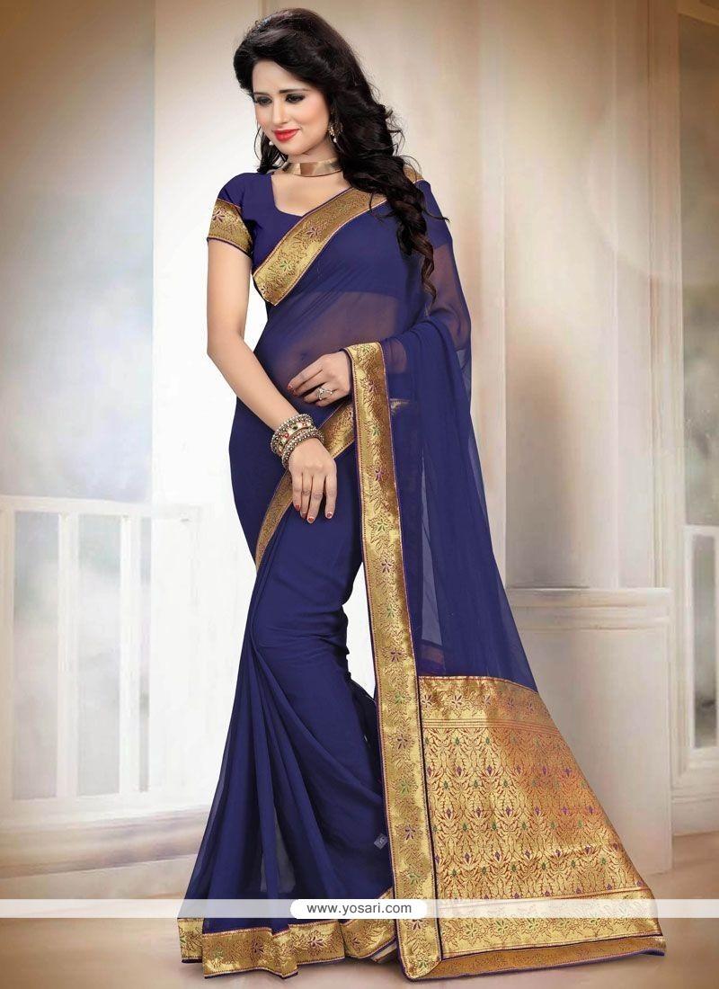 Competent Faux Georgette Navy Blue Designer Saree
