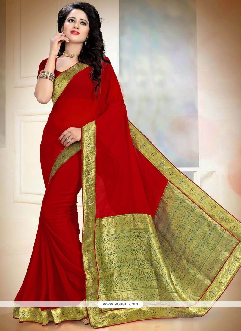 Angelic Red Faux Georgette Saree
