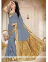 Graceful Patch Border Work Grey Faux Georgette Saree